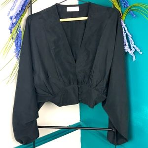 Willow black cropped silky top with dolman sleeves